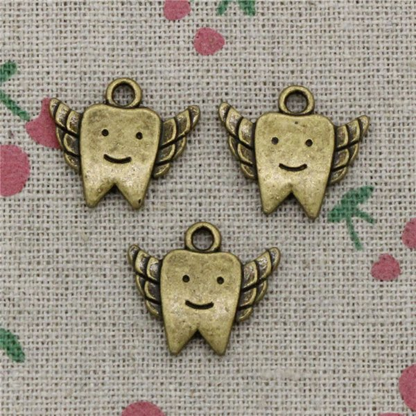 66pcs Charms tooth fairy teeth 20*18mm Antique Bronze Vintage Pendants For Jewelry Making DIY Bracelet Necklace