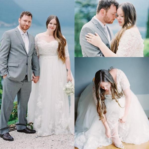 Vestidos de novia de encaje de talla grande con medias mangas A-Line Apliques con cuello en V Vestidos de novia Longitud hasta el suelo Vestido de novia de tul