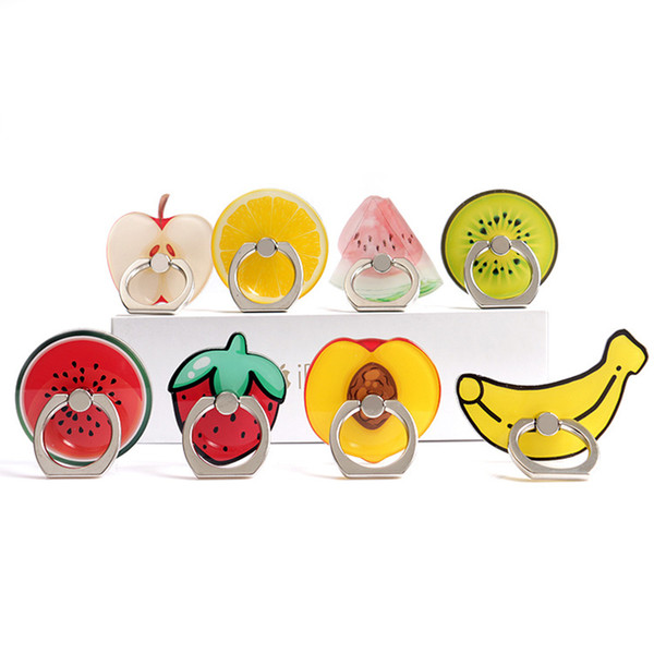 best selling Cute Fruit Banana 360 Degree Finger Ring Mobile Phone Smartphone Watermelon Stand Holder For iPhone 6 7 plus with Package