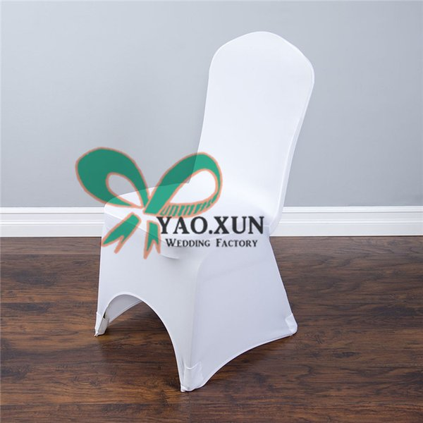 White Lycra Spandex Chair Cover For Wedding With Arch Front