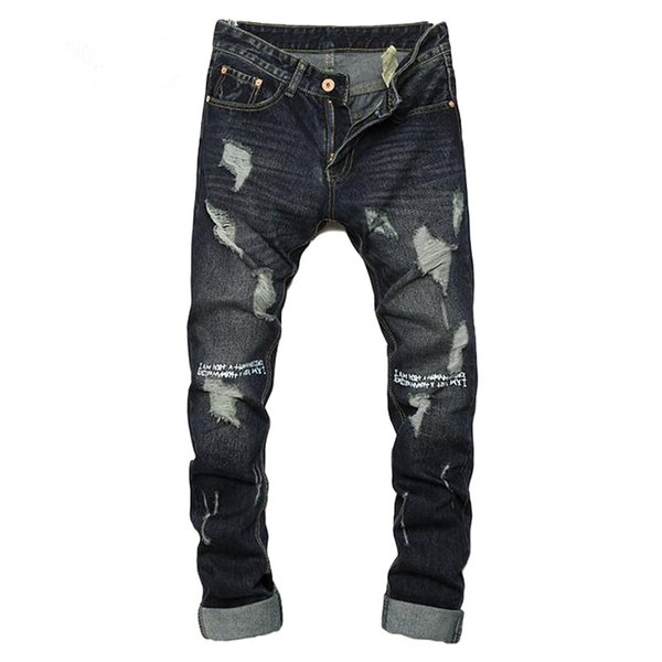 Ripped jeans for men hot sale skinny jeans size 28 to 36 slim fit mens denim trousers 2017 dark color casual hip hop men jeans