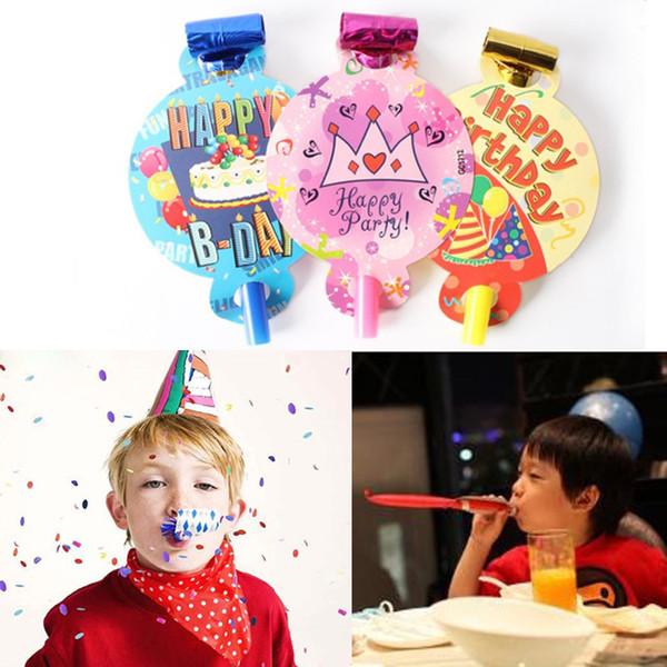 Atacado-6pcs / pack pequeno colorido engraçado crianças assobios festa de aniversário das crianças de sopro de aniversário de brinquedo de dragão presente YL877371