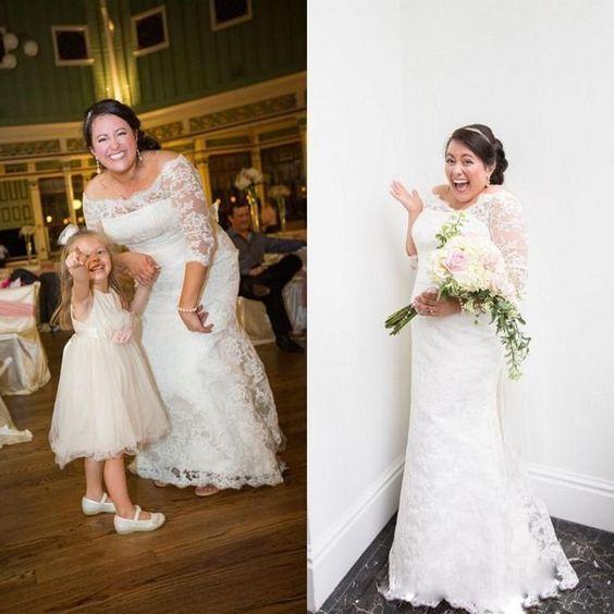 Plus Size Wedding Dresses 2017 Lace Off Shoulder Floor Length Maxi Mermaid Bridal Gowns With Sleeves For Fat Brides Vestidos De Novia