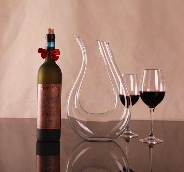 1PC 1500ml Big crystal handmade red wine decanter wedding wine decanter red glass wine dispenser U-shaped decanter Pourers J1102