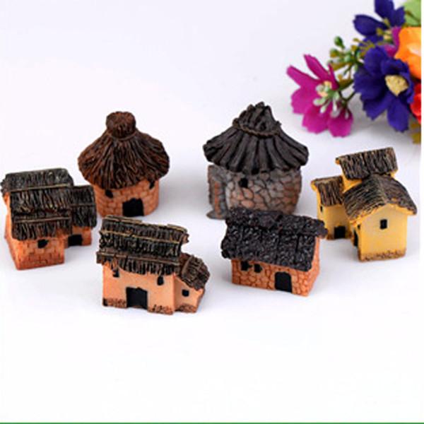 6pcs Cottages Small House Statues Fairy Garden Miniatures Bonsai Tools Terrarium Figurines Zakka Moss Home Decor Accessories Jardin Gnomes