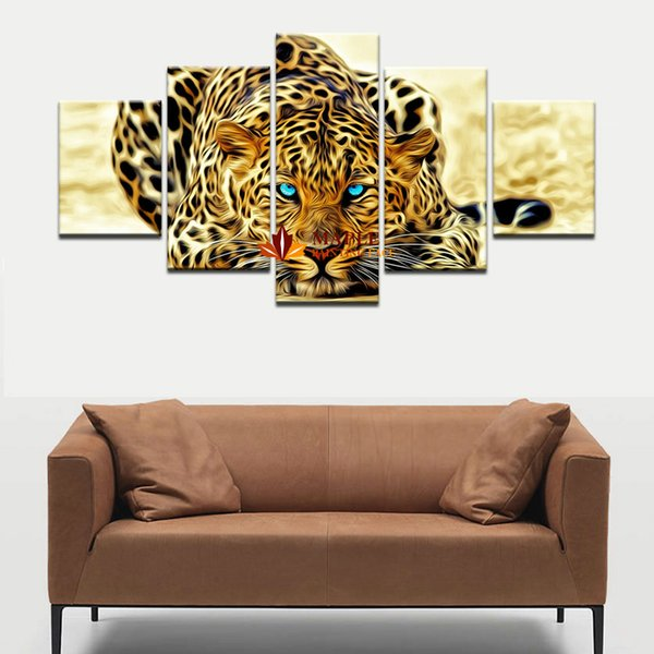 best selling 5 Pieces Wall Decor Painting Abstract Leopards Wall Art Canvas Picture For Living Room Home Decoration Picture Wall Decor Art