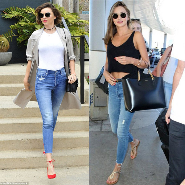 Toptan-Yeni Tasarım MO Slim Fit kadın Rahat Moda Delik Yüksek Bel Kot Avrupa Şık 2017 Yüksek Kalite Denim Sıska Pantolon