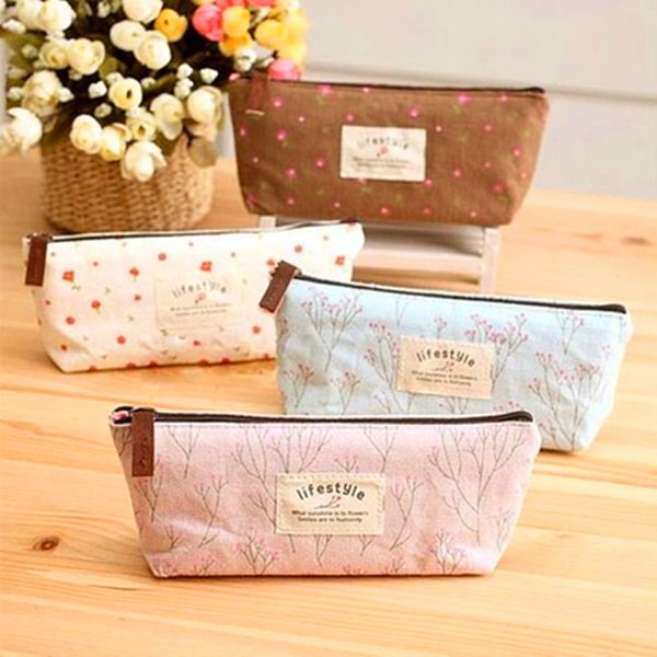 Wholesale-Floral Flower Canvas Lovely Zipper Pencils Case Portable Student Stationery Storage Pencil Bag School Office Material Supplies