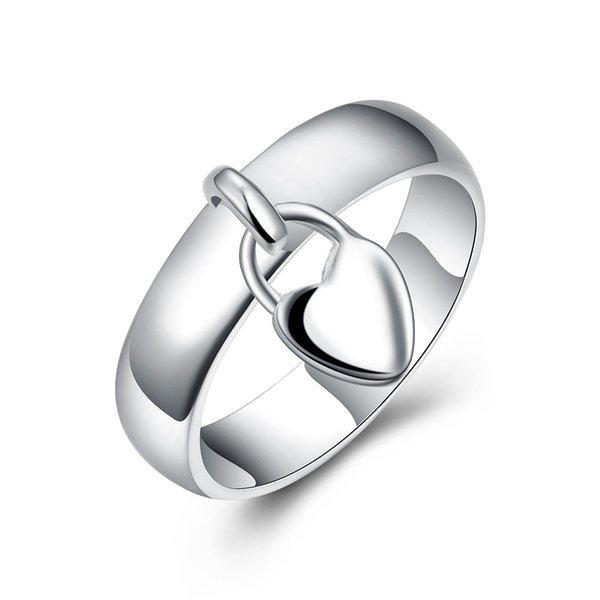 Wholesale 925 Silver Ring Pretty Heart Pendant Finger Rings For Women New Fashion Jewelry Free Shipping r133