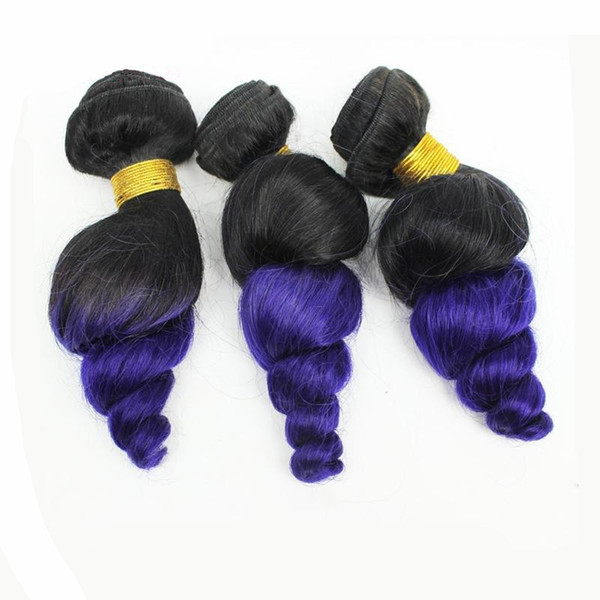 8A Brazilian Ombre Loose Wave Brazilian 1b Purple Hair Bundles Virgin Human Hair Weave Two Tone 1B Purple Ombre Hair Extensions For Sale