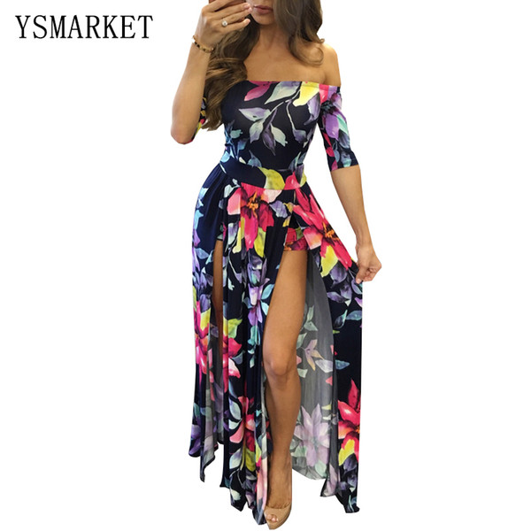 d2df9ea221c21 Plus Size Floral Print Off Shoulder Maxi Dress Women Sexy Slash Neck  Bodycon M 3XL Party Club High Split Jumpsuit Dress E3074 Summer Floral  Dresses ...