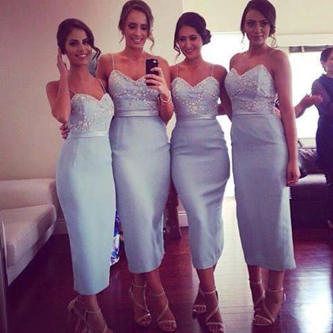 Modern Tea Length Bridesmaid Dresses Sexy Spaghetti Straps Beaded Sweetheart Light Blue Sheath Maid of Honor Gown Formal Wedding Guest Dress