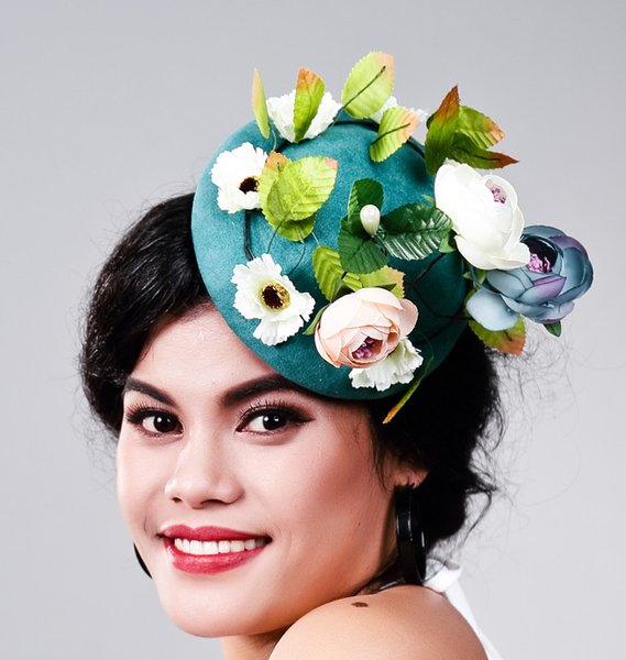 Women Fancy Feather green Fascinator Headwear Wedding Hats and Fascinators White Net Hair Accessories for Bridal Woman MD16030