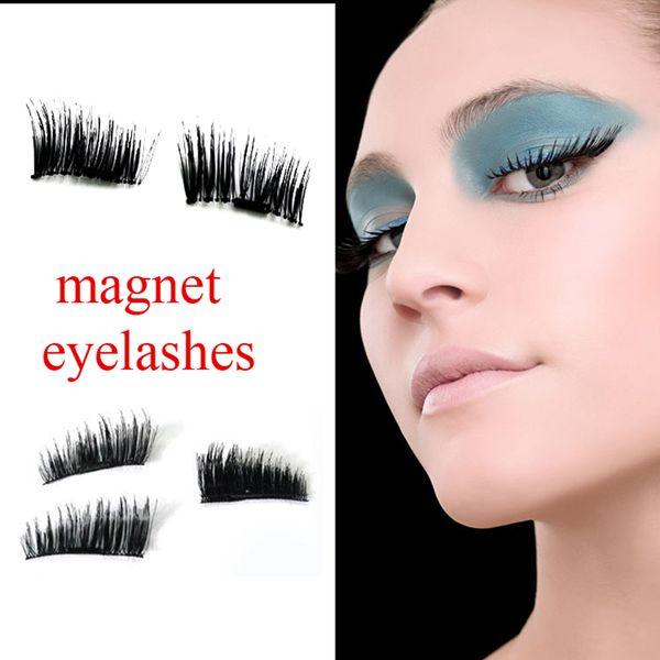 Magnetic Eye Lashes 3D Reusable False Magnet Eyelashes Extension magnetic eyelashes Round & Square box 4pcs in 1 set