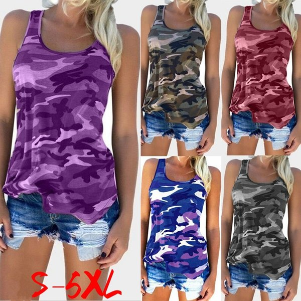 Canotte casual da donna Camo Army Sundress 2018 Fashion Camouflage Stampa Canotte Estate senza maniche Scoop Neck T-shirt sottile Sexy Vest CL059