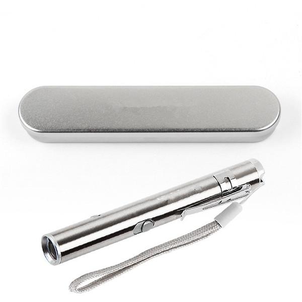 50 conjuntos de Bolso Recarregável USB de Aço Inoxidável Mini Lanterna LED Tocha Laser Pointer Moon Light Caneta Lanterna com caixa de metal