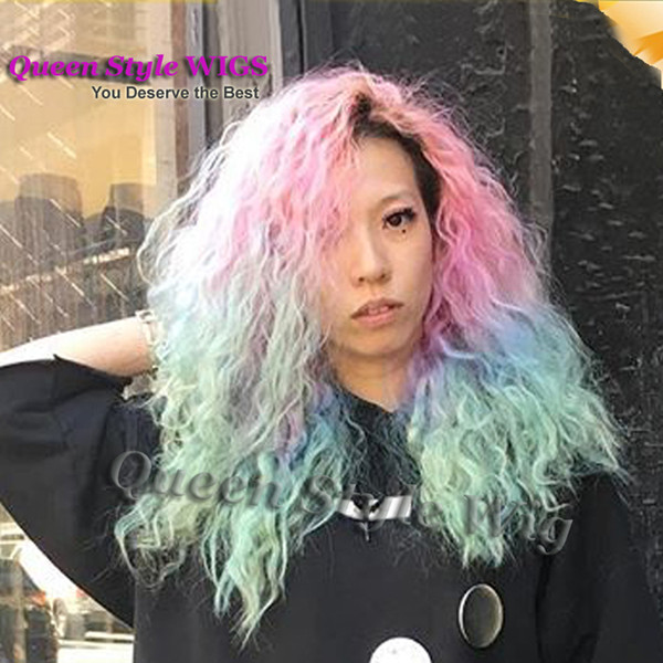 Hot Sexy Long Kinky Curly African Curly Wave Hair Wigs Pink Blue Ombre Color Pastel rainbow Hair Heat Resistant front lace Wigs