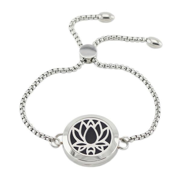 316L Edelstahl Diffusor Medaillon Armband einstellbar 25mm magnetische Lotus Form Parfüm Medaillon Armband mit Kette
