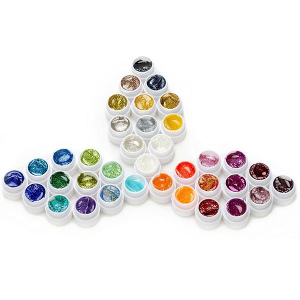 Wholesale-36pcs nail art gel UV set nail art polish colors set para decoración, pintura de diseño de uñas y construcción de extensión, 5ml / pcs