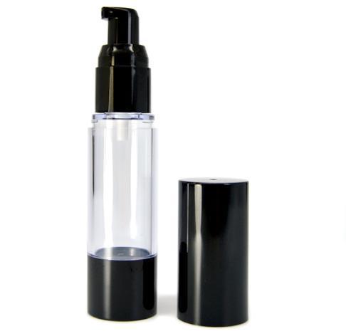 50 ml emulsión Botella de vacío bomba sin aire Botella Cosmética Aceite Esencia Aceite Loción Gel Relleno embalaje Botella negro Envío gratis