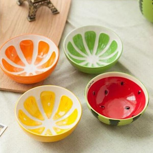 4 piezas / lote Ceramic Bowl, Beautiful Fruits Print Container de comida, Ensaladera, Baby Love Cute Cups, Fruit Bowl Platos, Tazones de cocina Arroz