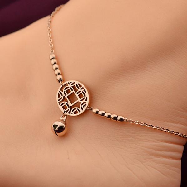 Petite Cloche Bracelet de Cheville Bracelet Or Rose Titane Acier Femmes Fille Amant Pieds Cheville Mode Pied Chaîne Bijoux