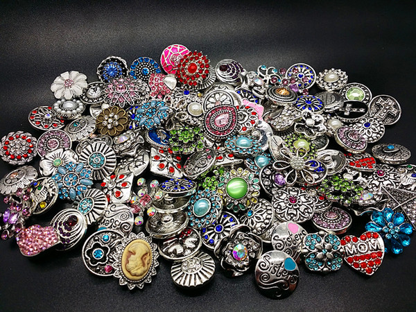 wholesale assorted 100pcs antique silver 18mm ginger Snap charms DIY Buttons with CZ Rhinestone brand new mix designs