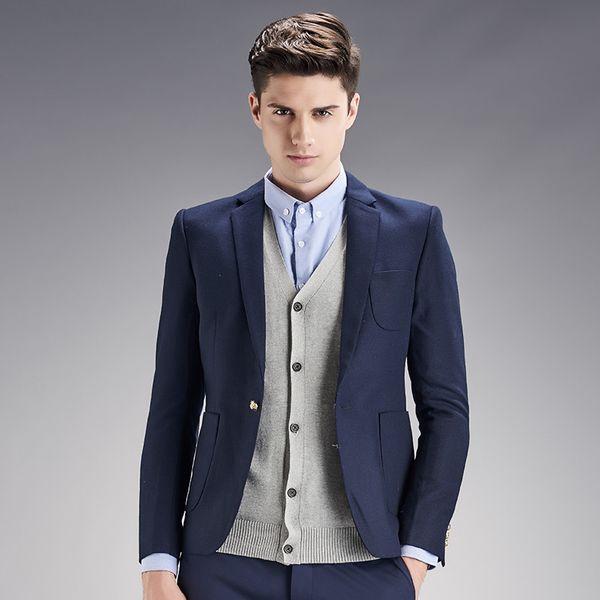 Blue and black men suits jacket stylish simple bridegroom tuxedos jacket high quality work formal business suits jacket