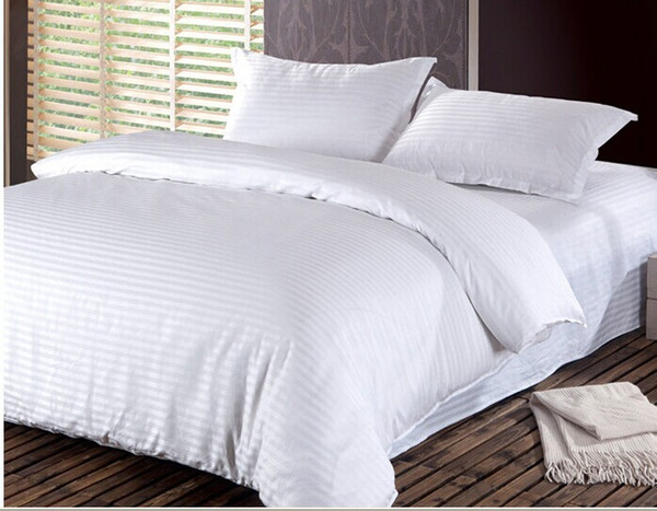 Wholesale-100% Cotton Damask Stripe 3pc/4pc bedding sets(duvet cover+ flat sheet+ pillowcase) twin full queen king Hotel Solid bedsheet