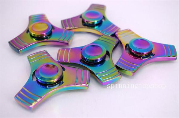 Rainbow in alluminio metallo Tri Fidget Spinner mano SPIN EDC stress FOCUS Dito Giocattolo