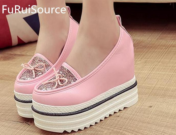 Documentary shoes 2016 new waterproof super thick bottom slope increased with the sequins low help shoes FuRuiSource