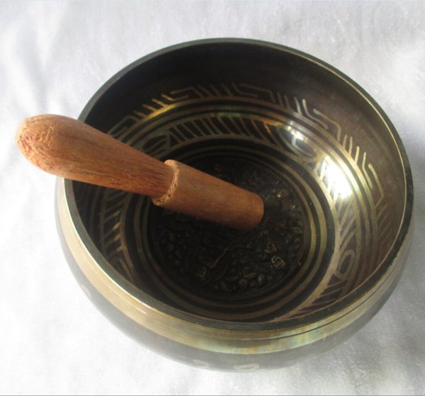 Collectable Tibetan Copper Singing Bowl With a Wooden Stick Chinese Handwork buddha Bowl Size :Diameter 14CM