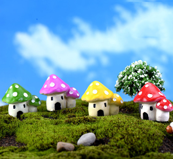 4pcs mushroom house fairy garden miniature ecological bottle decor mini garden decoration resin gnome terrarium craft