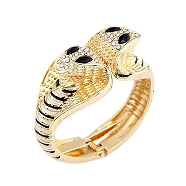 Braccialetto di serpente animale vintage punk Braccialetto di leopardo modello Bangles Bracciale elastico in resina con strass geometrici Hello Kitty Charm Bangle