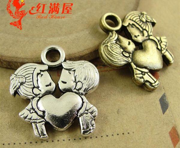 21*44MM Zinc alloy Antique Bronze Metal accessories wholesale jewelry pendant DIY retro lovers love counple charms for Valentine
