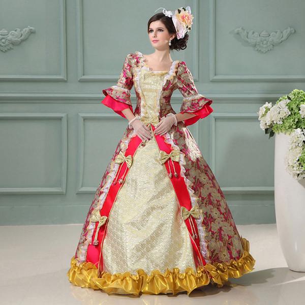 Personalizado 2016 nueva marca de manga media floral vestidos de fiesta Renacimiento Marie Antonieta princesa vestidos trajes