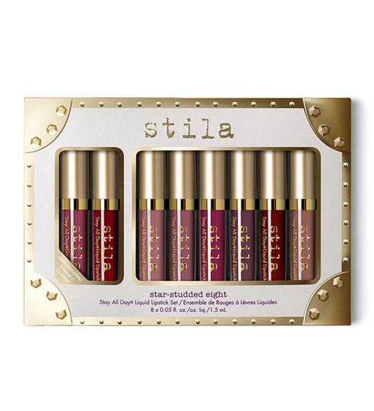 Stila Star-studded Eight Stay All Days Liquid Lipstick set 8pcs/ box Long Lasting Creamy Shimmer Liquid Lipstick Lip Gloss