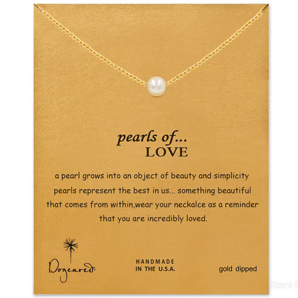 best selling Hot Sale Dogeared Necklace with pearls pendant (pearls of love), WITH CARD silver and gold color noble and delicate necklace , no fade