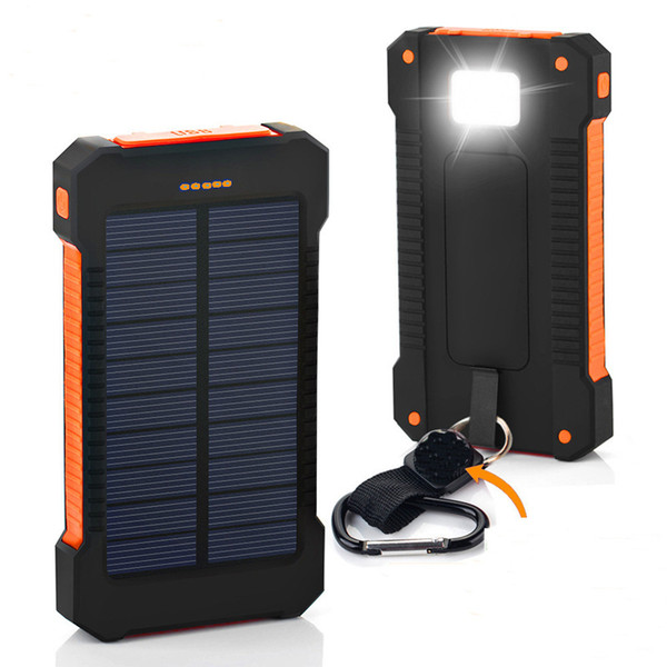 top popular Compass solar power bank 30000mah universal battery charger with LED flashlight and compass for outdoor camping Waterproof anti-fall 2019