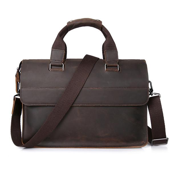 Großhandel vintage echtes leder casualbusiness aktentasche männer handtasche messenger bags 13 zoll laptop computer umhängetasche