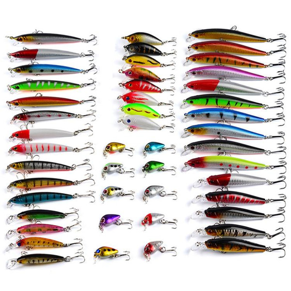 48pcs/lot ABS Plastic Freshwater Fishing Lures Set Mixed 7 styles Minnow Lure Crank Bait Pencil and Rattlin Baits For Fly fishing