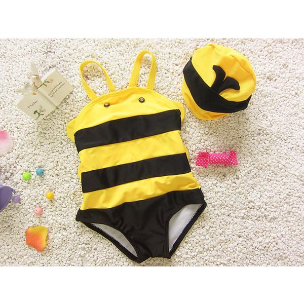 20pcs 2016 New baby Swimwear boys Girls Cute Little Bees Bathing Suit Kids One Piece Cartoon Swimming Suit Baby Swimwear QT025