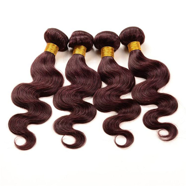 99j Burgundy Brazilian Virgin Hair Bundles 4pcs 8A Grade Body Wave Remy Human Hair Weaves Bundles Cheap Double Weft Extensions 10-30 inch