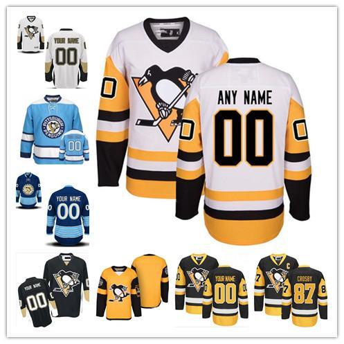 Personalizado Pittsburgh Penguins ANTIGUA MARCA Hombres Mujeres Jóvenes Negro Amarillo Blanco Azul Estadio Serie Cualquier jugador cosido Hockey Jersey