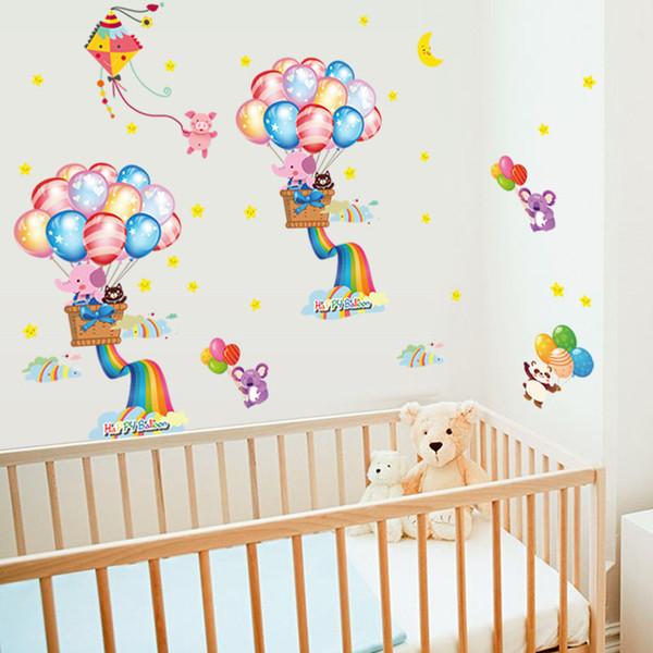 cartoon balloon rainbow wall stickers for kids rooms nursery boy bedroom home decoration children decals vinyl murals