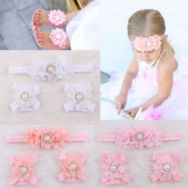 Fashion Baby Accessories Infant Kids Headbands and Foot Flower Matching Set Baby Girls Sandals Barefoot Sandals Baby Shoes Toddler Shoes