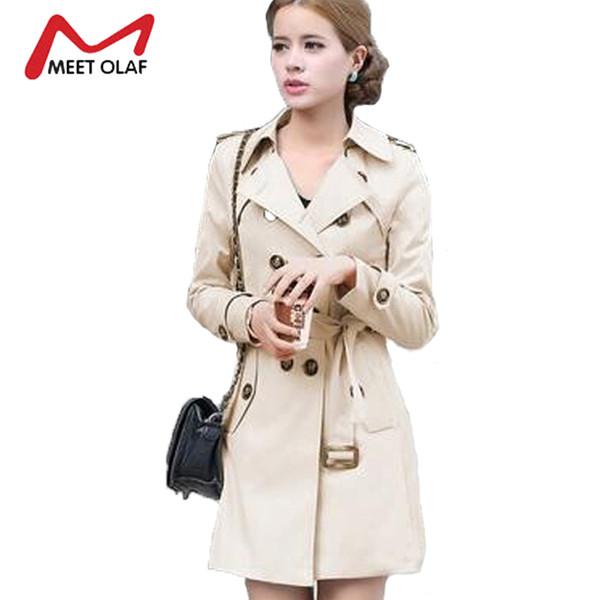 Wholesale- Women Trench Coat 2017 New Spring Autumn Double Breasted Trench Coats Slim Fashion Medium-Long Windbreaker Ladies Raincoat YL505