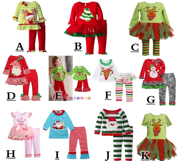 best selling 2017 infant xmas elk outfit girls christmas tree deer cartoon t-shirt + ruffle pants 2pcs sets children polka dot tops 14color choose free
