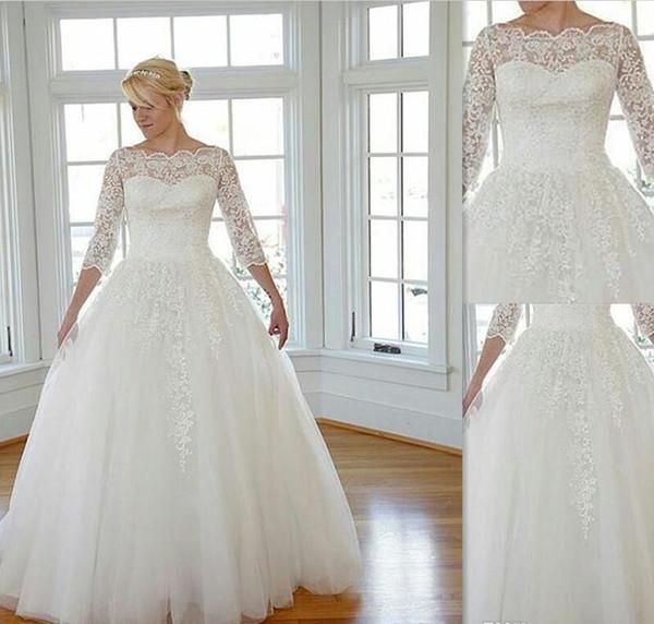 Discount 2016 Plus Size Wedding Dresses Lace Sheer Bateau Neck ...