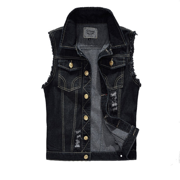 21550a45675 Wholesale- Vintage Design Men s Denim Vest Male Black Color Slim Fit Sleeveless  Jackets Men Hole Jeans Brand Waistcoat Plus Size 6XL LA034